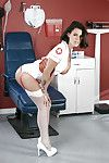 Short haired dark brown nurse Peta Jensen posing for untamed non unclothed photos