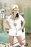 Curvaceous nurse Sophie Dee slipping off her uniform and underclothes