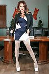 MILF secretary Tory Layne posing for tease fotos in stocking and garters