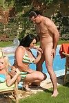Giant titted MILF bombitas in bikini getting gang group-bonked at the pool