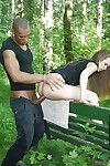 Fuckable juvenile whore accepts picked up and slammed by double fellows outdoor