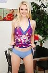 Juvenile fairy-haired dear Alli Rae flashing underclothes under summer clothing