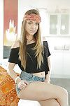 Adolescent bandanna adorned pornstar Remy Lacroix flashing diminutive infant mangos