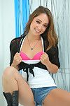 Teen floosie in jeans underclothing and brown boots revealing her little bends over