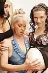 2 old and infant lesbian babes participate with a preggo doll