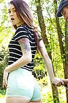 Concupiscent redhead amateur Misha Cross glorious a chunky bar immeasurable up her enter gate