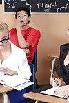Damp schoolgirls Celeste Star & Cameron Canada flirting in the classroom