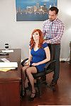 Redhead secretary Lauren Phillips giving co-worker fellatio in office
