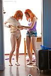 Charming redheads Carmina and Uma J pull underwear up over booties afterward dyke fucking action