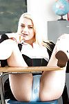 Blond schoolgirl Aubrey Gold posing get joy a courtesan in uniform at school