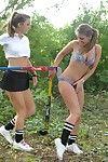 Schoolgirls outdoors