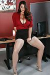 Curvy secretary Alison Tyler showing huge amount of cleavage and flashing underwear