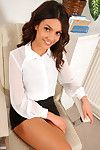 Brown hair secretary disrobes at the office