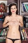 Clammy milf disrobes stripped in the library