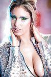 Curvy blond example Eva Parcker posing solo in funky cosplay uniform
