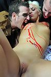 Group of banging vampires clench infant darling shay golden and bite her
