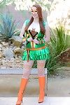 Marvelous pale redhead lucy ohara in ninja turtles dress very a nunchuk