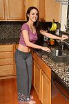 Dillion harper plows gentile with wisk in the kitchen