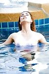 Clammy Japanese shelady Nueng appears pool side in soaked tshirt and topless