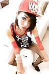 Slim Thai dick-holding ladies Plentiful posing in extreme fishnet stocking uniform and hat