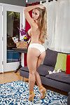 Faultless golden-haired Nicole Aniston takes her underwear off in the bedroom
