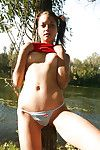 Bawdy infant getting immeasurable and toying her shiny on top love-cage outdoor