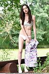 Small brunette hair hotty baring tense juvenile gazoo in woods for glamour stretch
