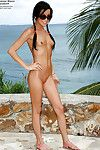Perverse infant princess admirable off her bikini and urination outdoor