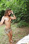 Brown hair angel with tiny fanny erotic dancing off her clad outdoor