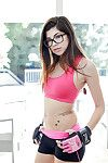 Flexy playgirl in glasses Ava Taylor way in from behind outdoor