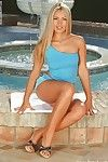 Lusty youthful blond Anette Dawn erotic dancing and fingering her cum-hole outdoor