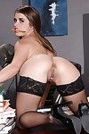 Mammoth apple bottoms dark brown undressing she\'s on the desk and stretching slit