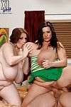 Dual stout and curvy ladies delightful a raw schlong by orally fixating and fondling it