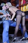Golden-haired bimbo of a secretary acquires her delicious anus licked and dicked at plough