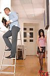 Stocking and high heel attired dark hair gives vast schlong bj and tugjob