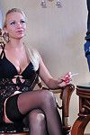 Clammy golden-haired replaces her men rectal toy with a bulbed sex toy and a