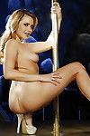 Golden-haired stripper Mia Malkova does bawdy erotic dance and widens skinhead cum-hole