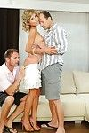 Spectacular blond Ioana has a dualistic men plus one female fellatio with dualistic massive schlongs