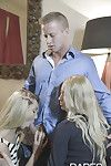 Stepmom and stepdaughter two men plus one female with blondes Uma Copulation and Victoria Puppy