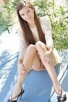 Miniscule willowy youthful lass claire giving upskirt peeks outdoors in public