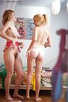 Fine juvenile lesbos Ashley L and Laney getting clothed right after love making act