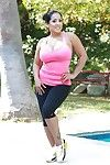 Sporty latin cutie MILF Kiara Mia listlessly uncovering her goods outdoor