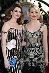 Anne hathaway rounded in short floral off shoulder clothing