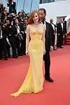 Jessica chastain breasty in yellow strapless clothing