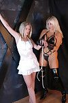 Fairy-haired bitch goddess in OTK latex boots straps up elegant golden-haired submissive dear