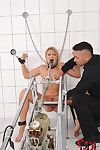 Titsy blond Lucy Heart painfully dug by machine in trimmed bawdy cleft