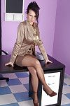 Extreme clothed secretary in satin blouse and satin petticoat 1st showing her pantyhosed feet then this babe removes clothes not featured her petticoat and shows off her pantyhosed butt. This babe unbuttons her blouse to ooze her largest pointer sisters a