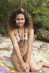 Ebon chicito Sara Nicole exposing undersize infant pointer sisters on beach while glam expand