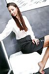Elegant pretty in office uniform attains fond of a immoral gloryhole scene