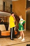 Palatable redhead cheerleader riding mr stiffy